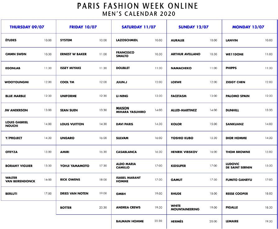Calendrier Fashion Week 2021 Fashion Week calendars 2020/21 and fashion events